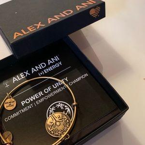 Alex and Ani positive unity charm brass bracelet